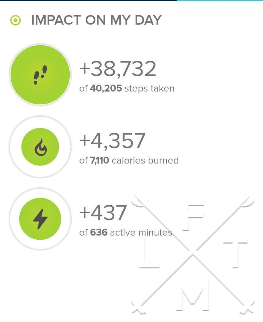 Stats from Fitbit.com on todays hike. Over 38,000 steps