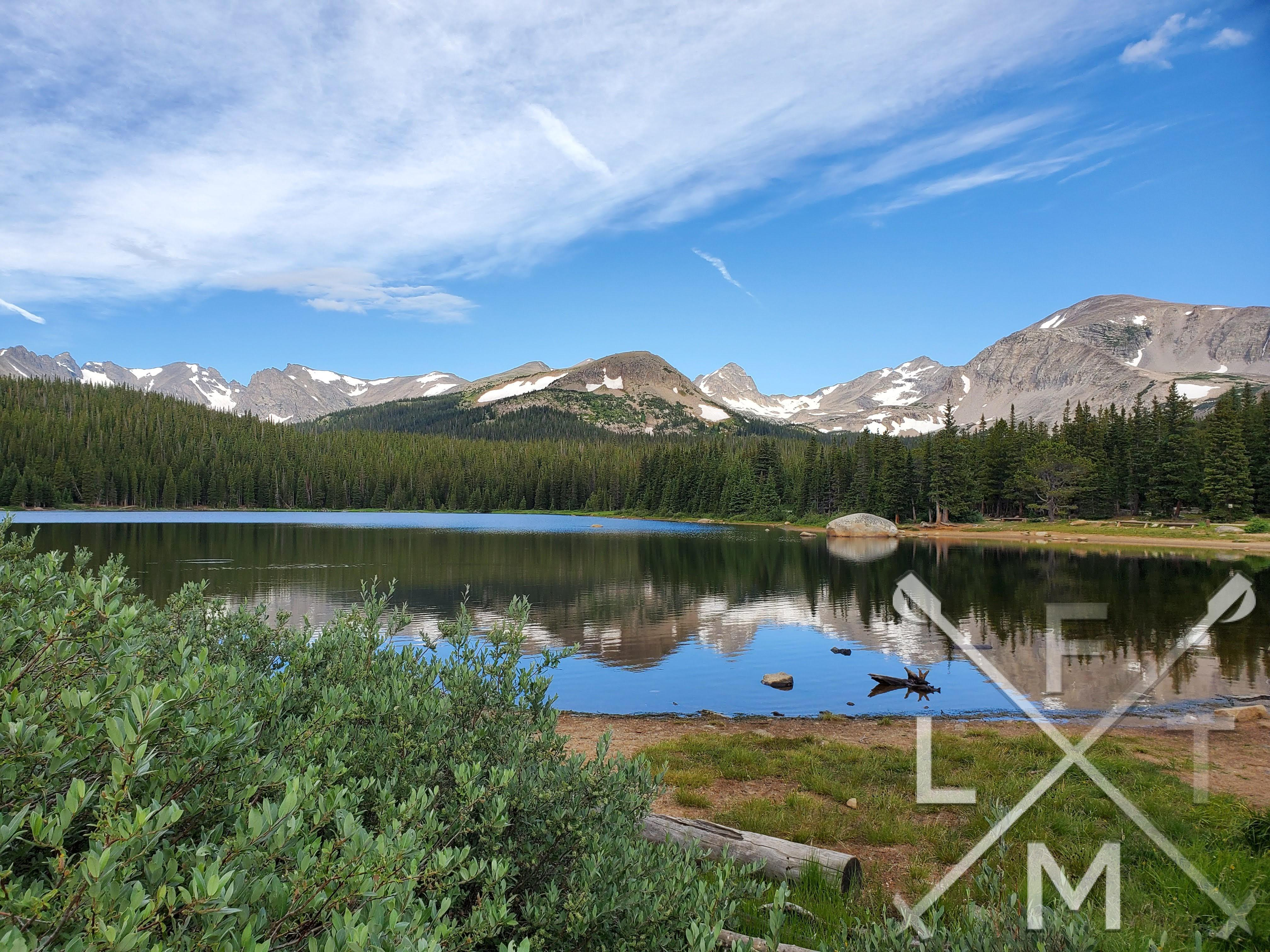 Brainard lake with the Indian Peaks range in the distance.