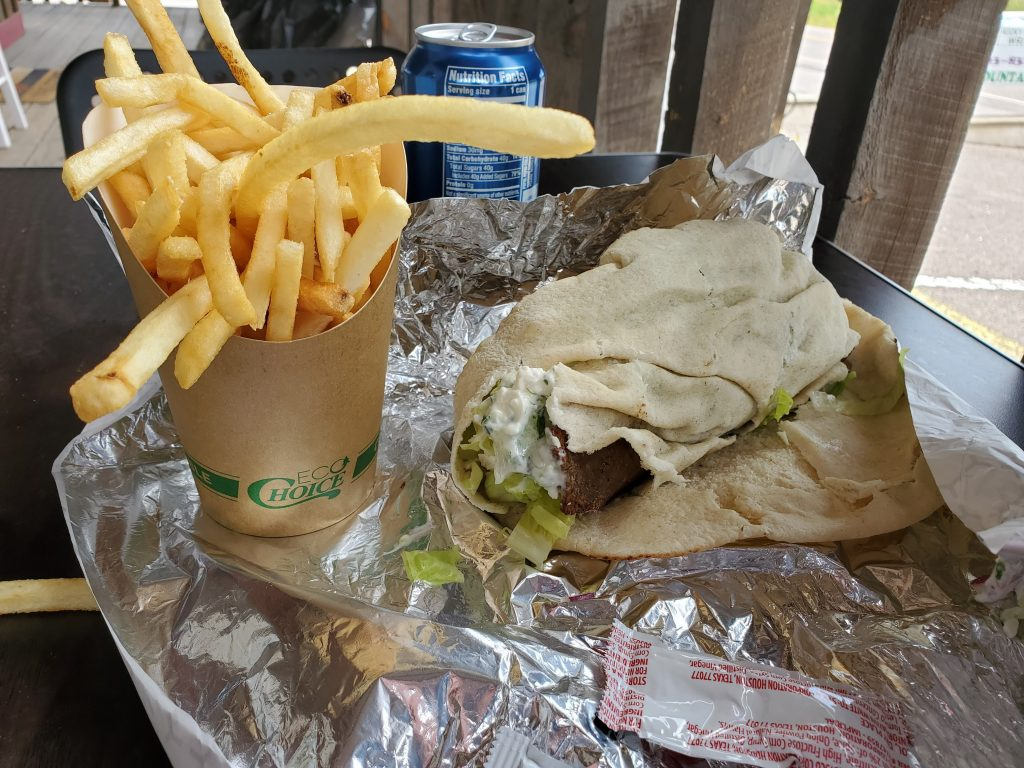 The gyro wrap and fries from Rocky Mountain Wraps in Conifer, Colorado