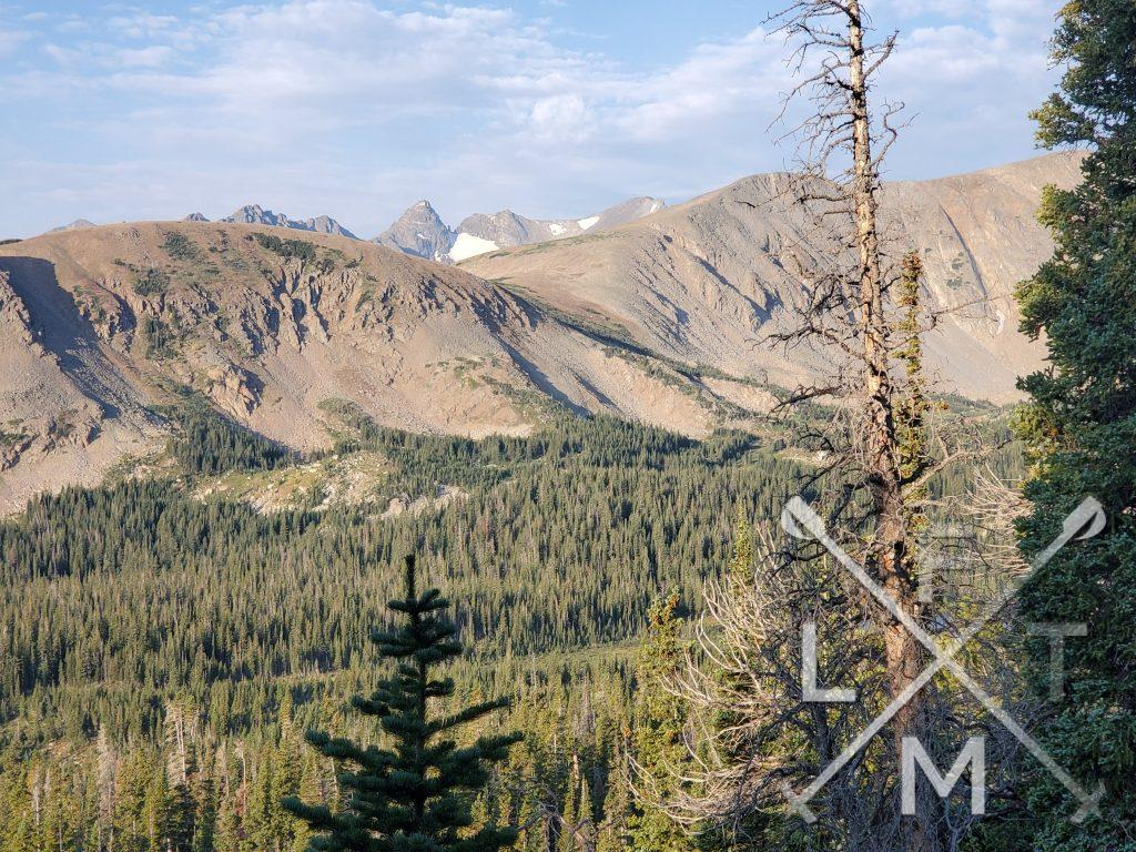 The views of the Indian Peaks while ascending the switchbacks to get to the tree line.