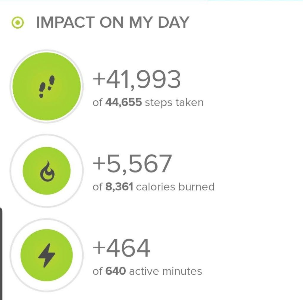 Step count according to my fitbit Ionic.  Steps for this hike were 41,993.