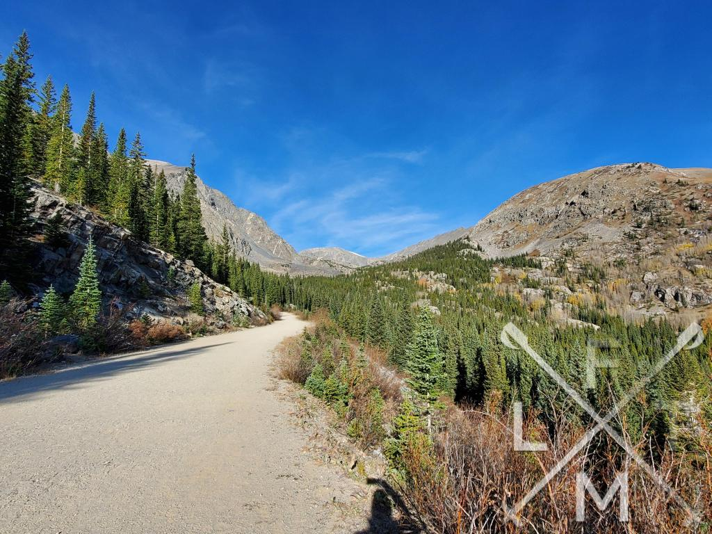 The view from the service road with pine trees on either side and Quandary peak on the left hand side