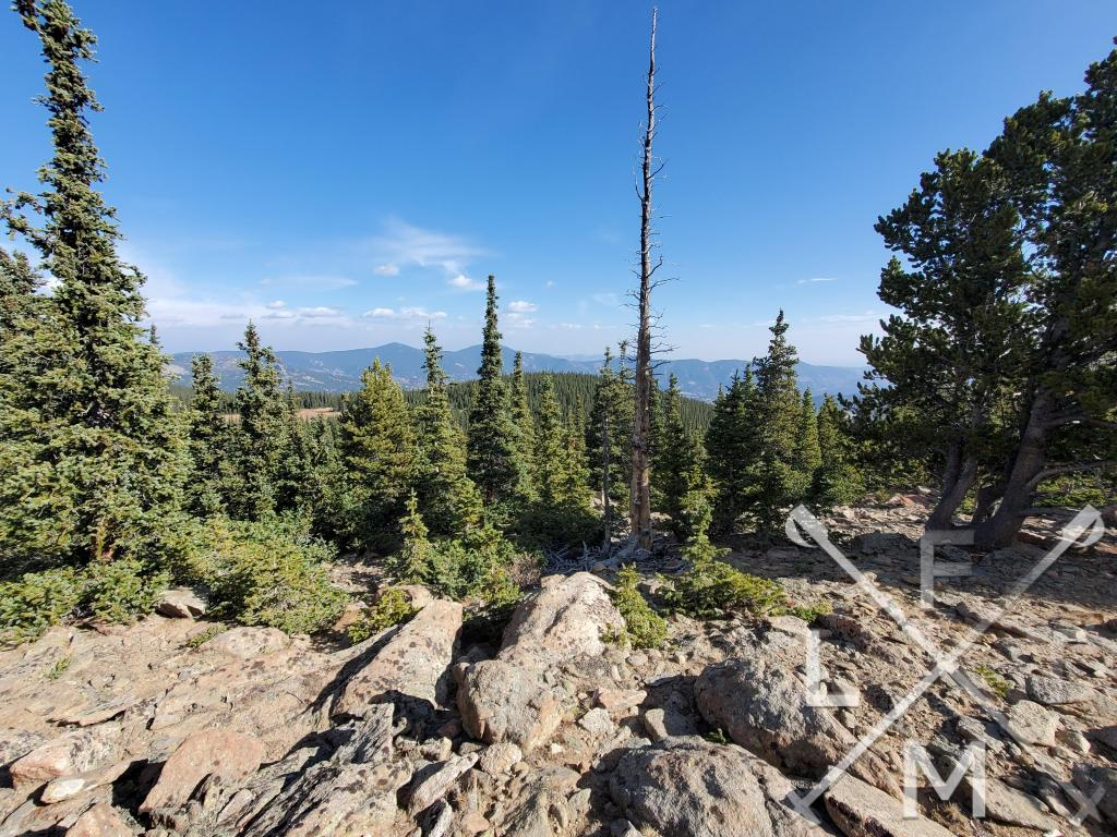The view from the  clearing at the top.  Rocks and trees are in the front of the picture and you can just see mountains in the background.