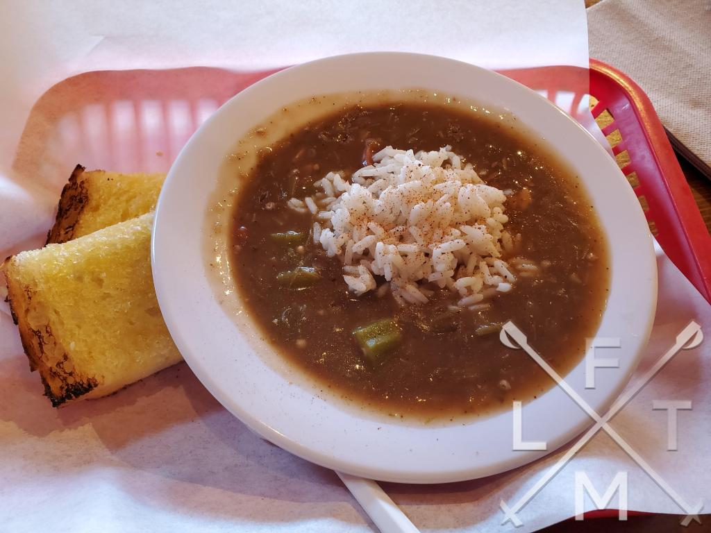 Sausage Gumbo with a side of garlic bread