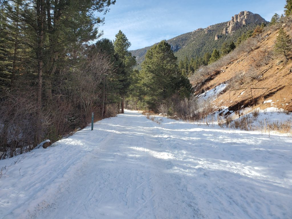 The snow covered road to end the  Palmer Trail (section 16) hike.