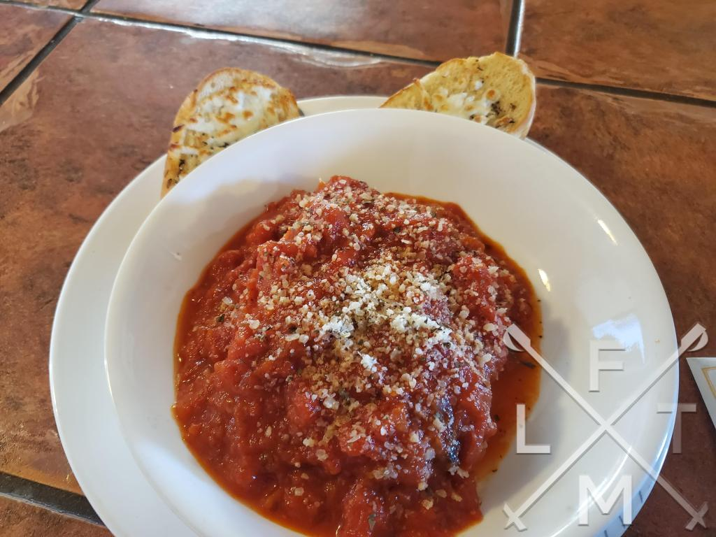 The homemade lasagna with a side of garlic bread from the Larkspur Pizzeria and Cafe