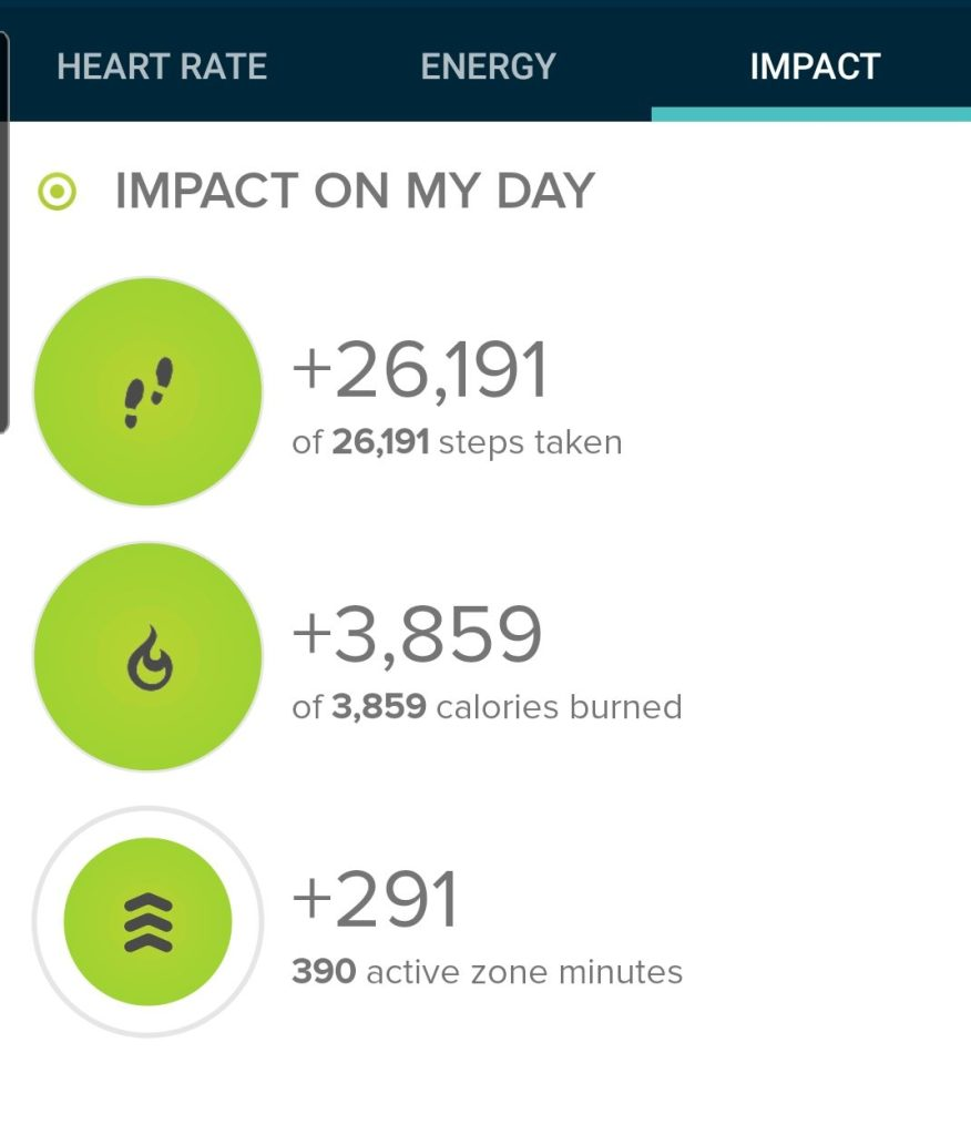 The step count for my trip to Hell's Hole was 26,191 steps