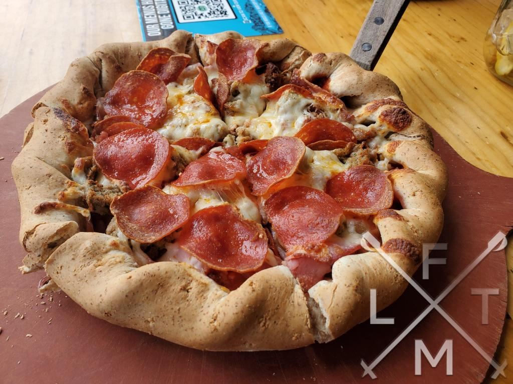 The Motherlode pizza from Beau Jo's with a ton of meat!