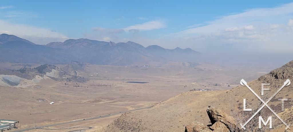 The view from the top of North Table Mountain.  The view takes you down the foothills north of Golden.