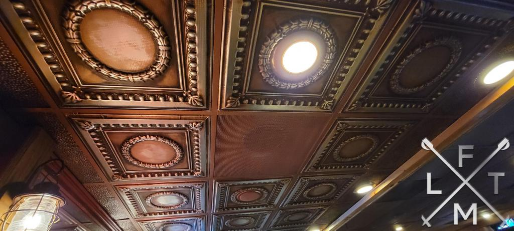 The tin ceiling above the bar at Woody's in Golden.