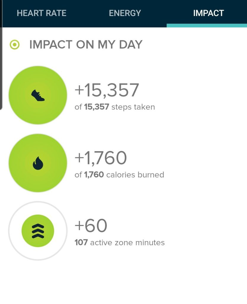 The step count from the Chautauqua Mountain hike was 15,357 steps.