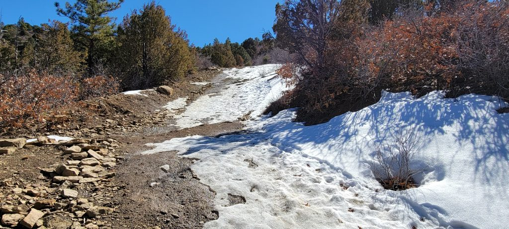 A section of the Challenge Trail at Fisher's Peak State Park.  The trail is steep and the terrain on this day was half snow/ice and half mud making it a real challenge.
