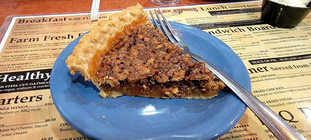 The JD Pecan Pie from the Rock Springs Cafe.