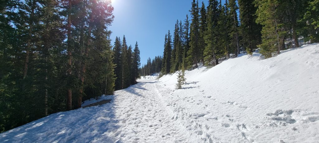 The snow covered trail with many divets that heads up to the top of Squaw Mountain.