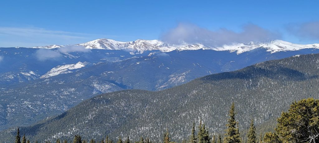 The view of Mt. Evans from the top of Squaw Mountain.